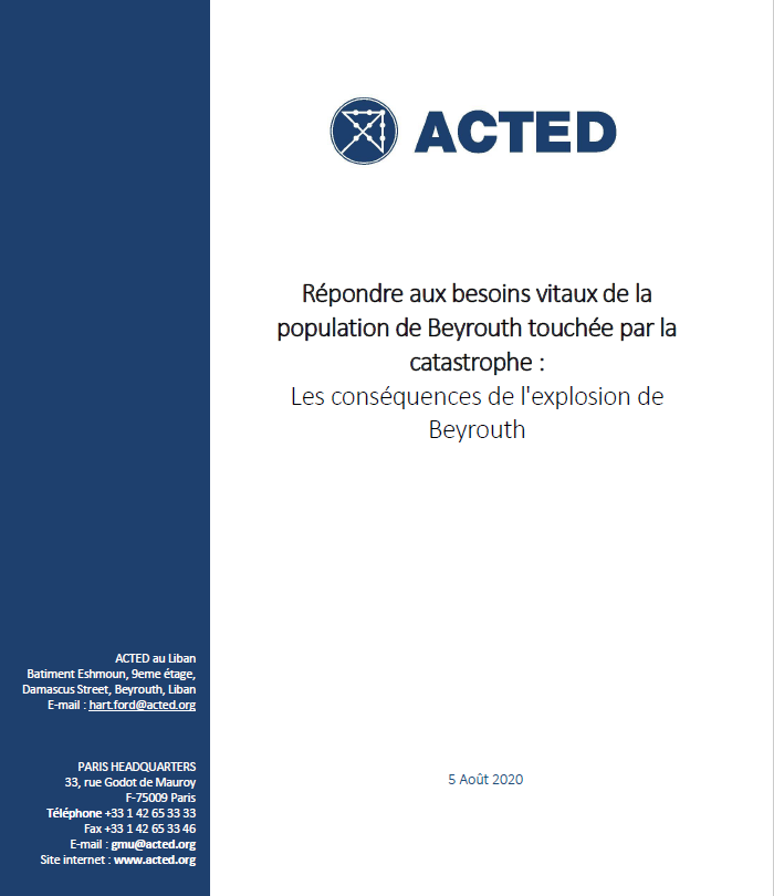 ACTED – Appel d'urgence – Explosion de Beyrouth